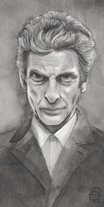Attack Eyebrows. Portrait, Peter Capaldi. Ink on watercolour paper. ~6×9″